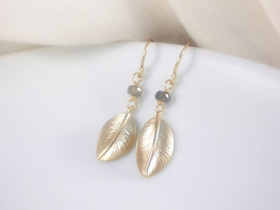 Gold leaf earrings with labradorite