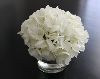 Fine Silk Floral Arrangement Faux White Hydrangea In Cylinder with Illusion Faux Water by SkyDesignsUSA