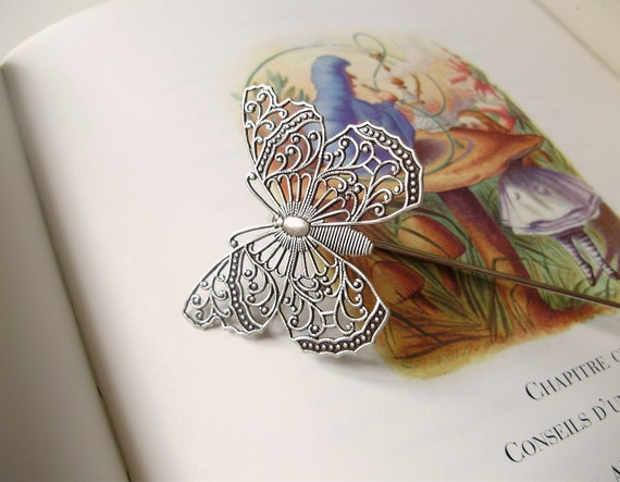 Shepherd Butterfly Bookmark - Alice in wonderland french silver book accessory - woodland fantasy gift for her