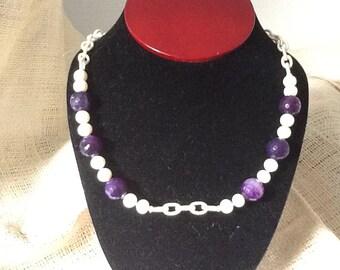 Cream colored nylon chain  fresh water pearls and quartz beads