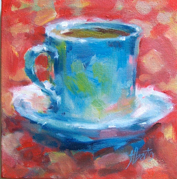 Set Of 3 Coffee Cup Canvas Wraps: Original Oil Painting Of Coffee Cup 8x8 Gallery Wrapped One