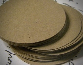 """250 2"""" paper circles -  kraft cardstock - gift tags - wedding favors tags - cup cake toppers -"""