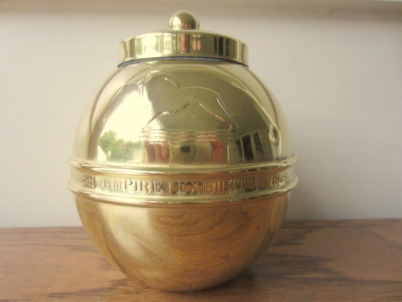 Brass tea caddy from British Empire Exhibition 1924.  Lipton's Souvenir Tea Caddy.  Brass tea canister.