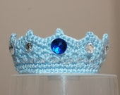 Crochet Baby Prince Crown - Handmade Tiara with Rhinstone Gems - Kids, Toddler, Child size - Ecxellent Photo Prop or Gift for Baby Shower