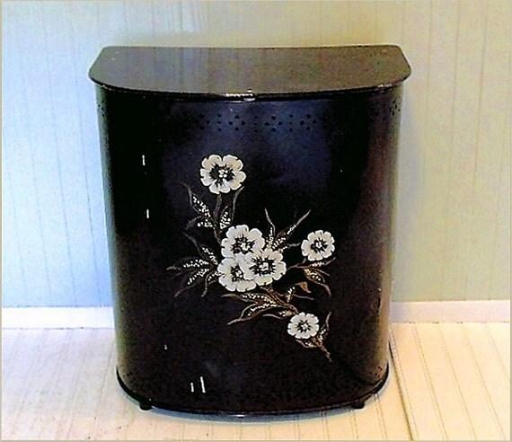 Vintage Large Black Enamel Metal & Wood Hamper - Vintage Hand Painted Floral ToleWare - All Original