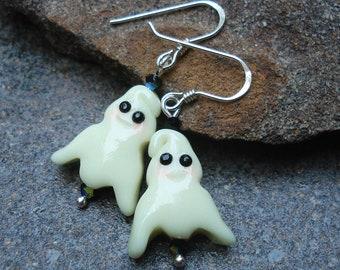 Halloween Ghost Earrings |  Halloween Jewelry | Sterling Silver & Swarovski | Fun Halloween Earrings