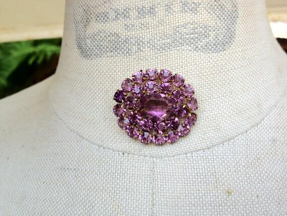 1920s open back prong set lavender Rhinestone brooch c clasp