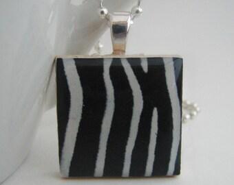 Zebra Stripes Pendant with Free Necklace