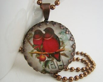 Couple in Red Antiqued Copper Pendant with Free Matching Necklace