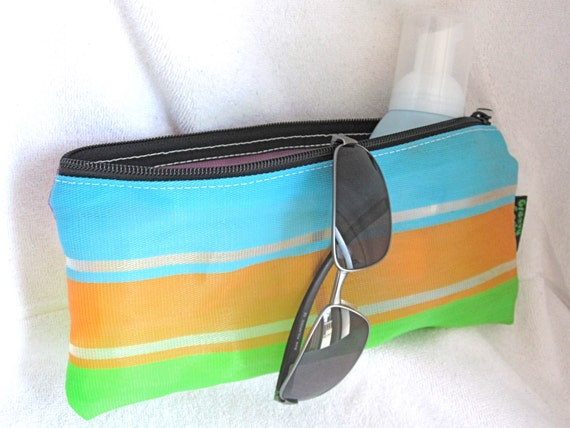 Orange / Blue / Green / Large Zipper Pouch / Upcycled Recycled Mesh Bag / Eco Friendly Bags