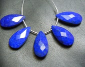 5PC-10X20 MM AAA Natural Blue Lapis Lazuli Faceted Briolette Pear Drops