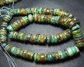 14 Inches So gorgeous Tribal Old Looking Tibetan Turquoise Smooth Wheel Shape Beads Size 8 MM To 10 MM Wholesale Price