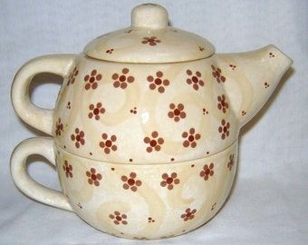 Ceramic Teapot for One/ teacup - Flowers & Dots -brown, beige, ivory