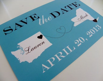 Map Save The Date Postcards Set of 48- Any Location Available Worldwide - Joined Hearts Series