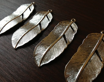 10 x Antiqued Silver Natural Feather Charms Silver Feather Pendants