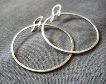 Brushed Silver Hoop Earrings - Brushed Sterling Silver modern minimal and sleek simple everyday jewelry