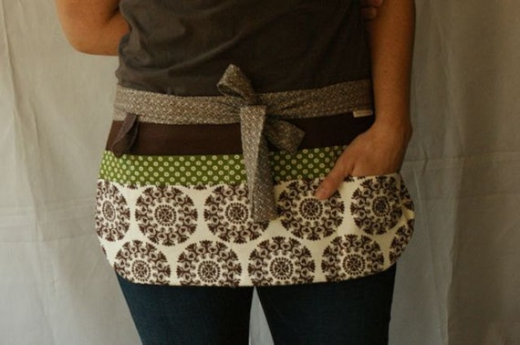 Utility Apron/Teacher Apron with 8 pockets and loop in brown green and off white fabrics