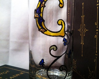 "Celtic Style Illuminiated Letter - Initial ""C"" - Handpainted 15 1/2 oz. Glass"