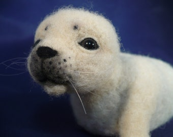 Seal Pup, Needle felted, Needle crafted, Soft sculpture, ..Made to order OOAK by Grannancan