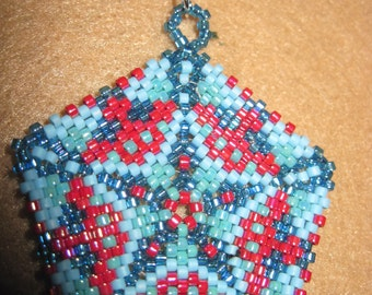 Peyote Stitched Star Pentagon Zipper Pull or Pendant...1 of a kind...hand made...1398h