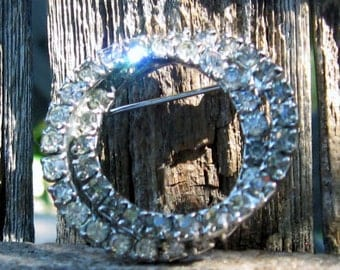 Vintage Double Silvery Rhinestone Circle Brooch.  Sparkly :)  No Patina- Photos taken under Trees!