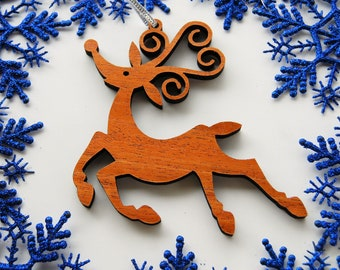 Wooden Holidays Whimsical Reindeer Christmas Ornament.. Decoration