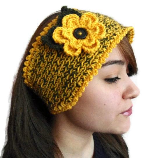 yellow, winter trend, Flower Headband, warm knit headband, knitting, gift, valentines day ,fashion