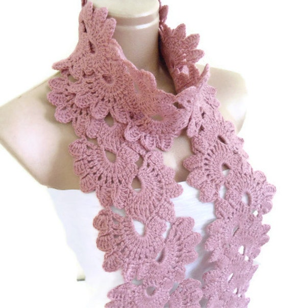 Crocheted , Lace Neckwarmer,Thulian pink, fashion,autumn,Holiday Accessories,Christmas,Halloween,gift