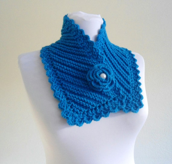 knit collar, Winter fashion, Blue neckwarmers, hand-knitted, new, Unique gift, 2013