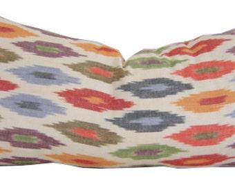 Ikat Pillows - Red Pillows - Schumacher Sunara Ikat - Sunara IKAT Pillow - 10 x 20 Pillow - Red Lumbar Pillow - Red Throw Pillow - Red Shams