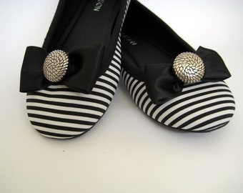 Black & Silver Satin Bow Shoe Clips FREE SHIPPING