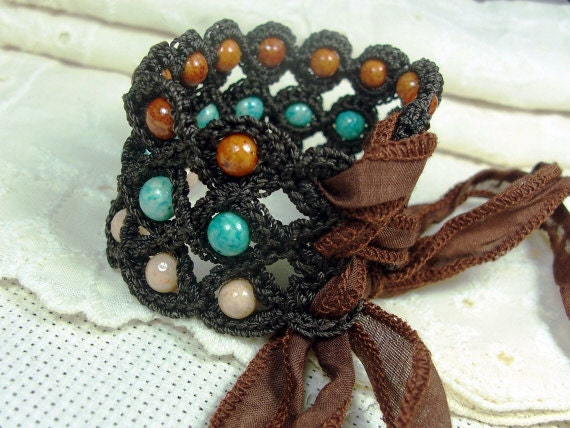Bohemian Crochet Corset Cuff Bracelet, Rustic, Boho, Western