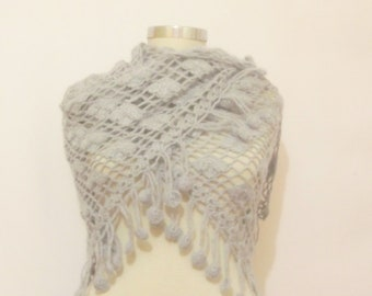 Handmade Crochet Light Gray Shawl-Free Shipping