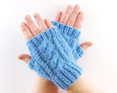 Sky Blue Aran Arm Warmer Gloves with Cable Design Girly Feminine Sherbet Baby Sea Blue Frost Shade. Short Arm Warmers. Fingerless Gloves.