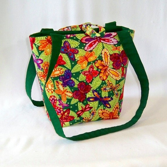 Butterfly Purse, Small Tote Bag, Handmade Handbag, Butterflies, Leaves, Green, Orange, Fabric Bag, Teen Purse, Cloth Purse