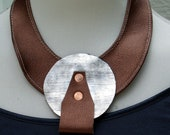 Metallic Silver Leather Disc, Metallic Copper Leather Bib with Copper Metal Studs