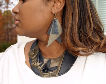 Black and Bronze Leather Bib Necklace