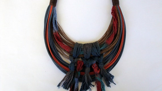 Fall Sale-Was 45usd Now 40usd-One of a kind Bohemian Statement Necklace Autumn - Winter Collection