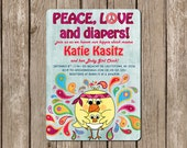 PRINTED Hippie Chick Baby Shower Invitation - Peace Love & Diapers customized with any colors and text - 2.00 USD per invite (min. order 20)