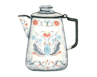 watercolor giclee print // swedish coffee pot kitchen art // scandinavian wall decor