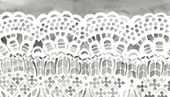 lace watercolor giclee print - 8x10 - pattern - home decor - art print