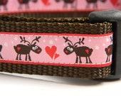 Pink Moose/ Reindeer Dog Collar