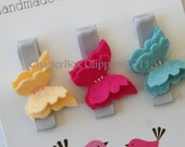 Baby Hair Clips Petite Butterflies in Brights Baby Barrettes Girls Hair Clips Alligator Clips
