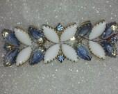Vintage USA MadeMarquise Cut Milk Glass And Sky Blue Marquis Cut Rhinestone Bar Pin
