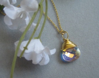 Bridesmaids Gift, Gold Necklaces, Gold Wire wrapped Clear Crystal Briolette, Simple, Elegant necklace