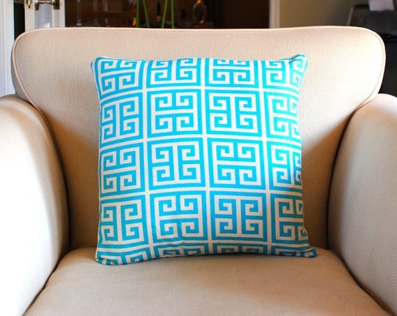 Turquoise Geometric Pillows Cover. Single cover for 18x18 pillow insert. Premier Prints Fabric