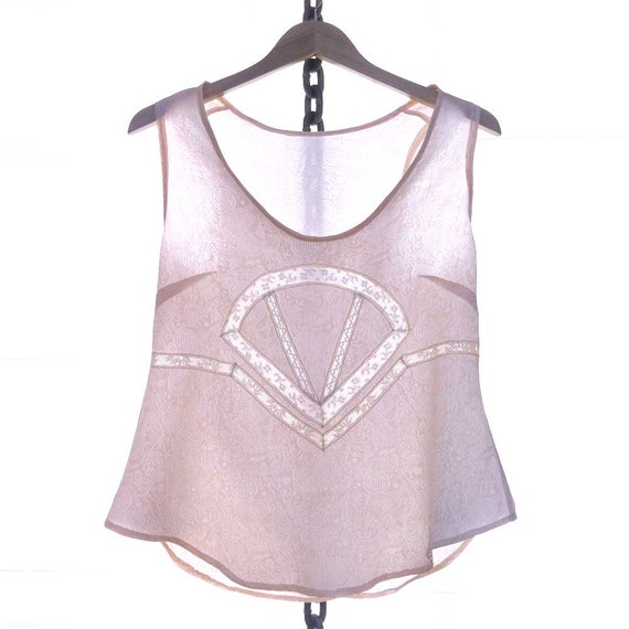 Cropped Tank Top Lingerie Silk Camisole Lace / Pastel Pink Cream White Chinese Fan Vintage Jacquard / Small - Mei Deco Camisole