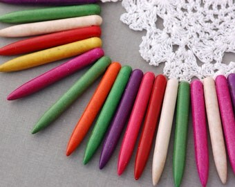 """1 strand Dyed Stone Spike Beads, 45mm long . 16.5"""" strand, about 79 beads, mixed rainbow colors how0336"""