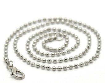 """One Dozen (12) Silver Tone BALL CHAIN Necklaces, lobster clasp, 18"""" long, 2.4mm FCH0025"""