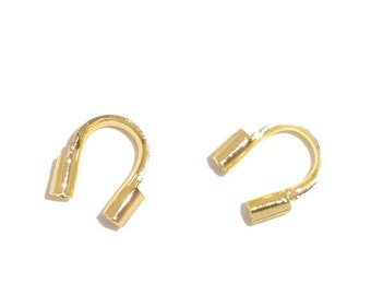 50 pieces 5mm Bright GOLD PLATED Wire Guides, Wire Protectors . Wire Guards  fin0154a